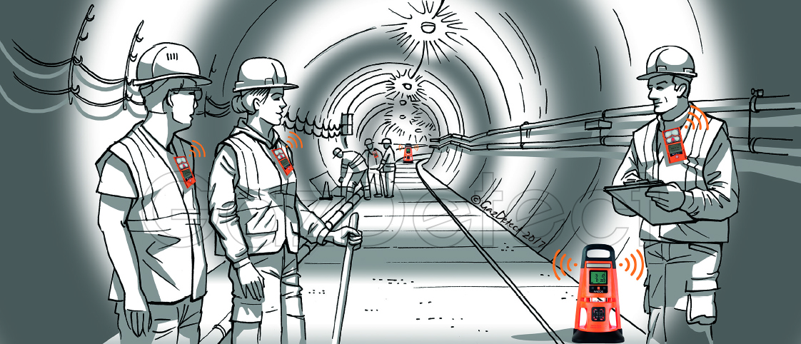 Lens Wireless gas detector in confined space, tunnel and underground works