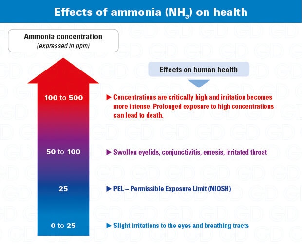 Ammonia dangers and effects on health (NH3 detectors and respirators)